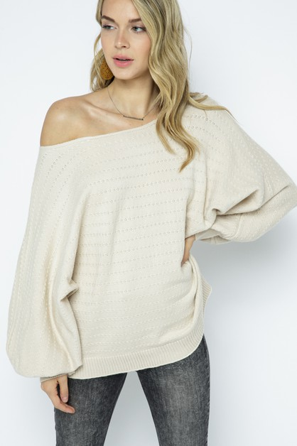 Textured Knitted Slouchy Off Shoulde - orangeshine.com
