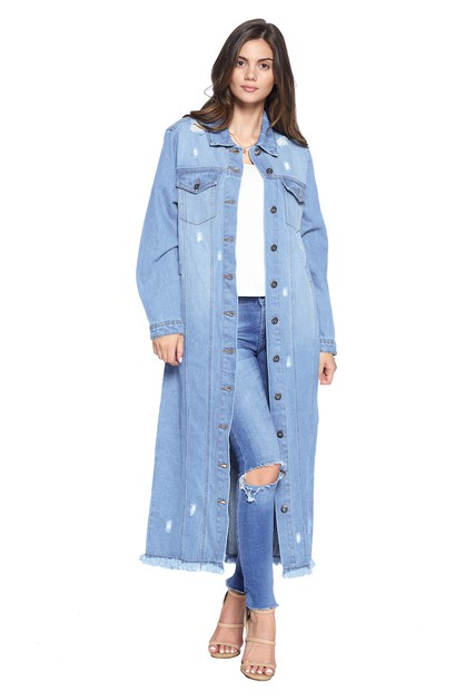 DENIM LONG JACKETS DISTRESSED WASHED - orangeshine.com