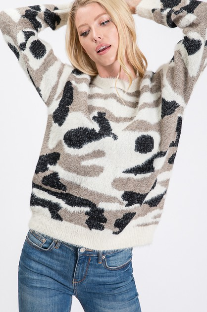 CAMO KNITTING SWEATER - orangeshine.com