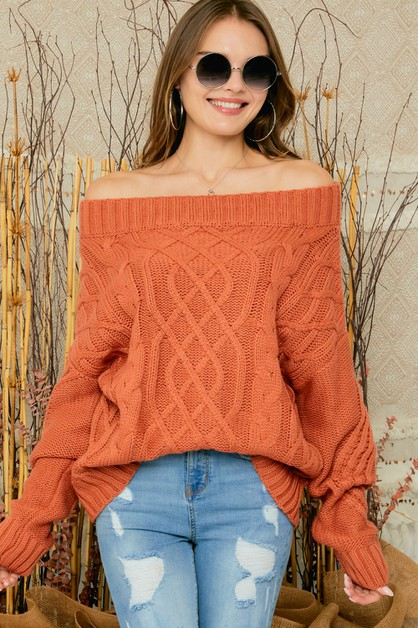 CABLE OFF SHOULDER SWEATER TOP - orangeshine.com