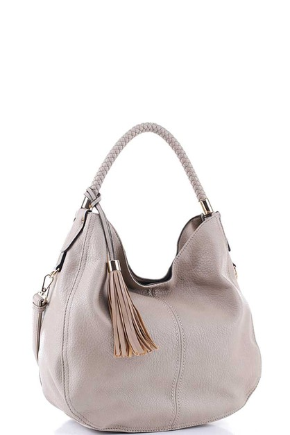 STYLISH MODERN TASSEL PLAIN HOBO BAG - orangeshine.com