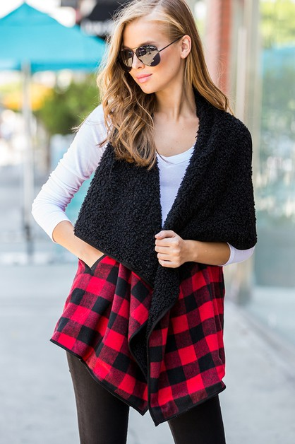 PLAID FUR OPEN-FRONT COZY VEST - orangeshine.com