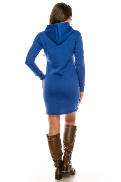 Fleece lined hoodie sweat dress - orangeshine.com