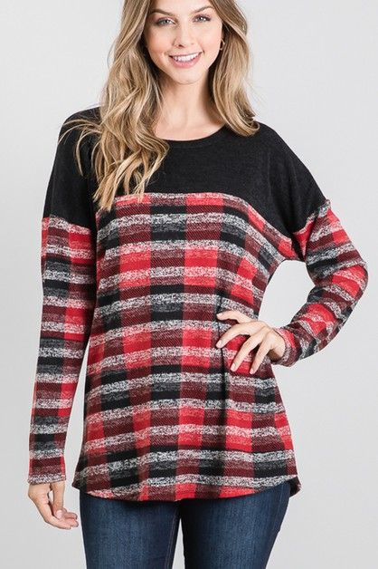 SOLID AND PLAID TOP - orangeshine.com