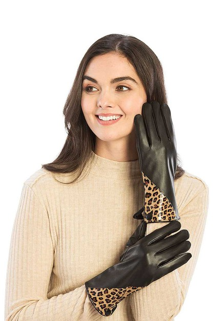 FAUX LEATHER WITH LEOPARD GLOVES - orangeshine.com