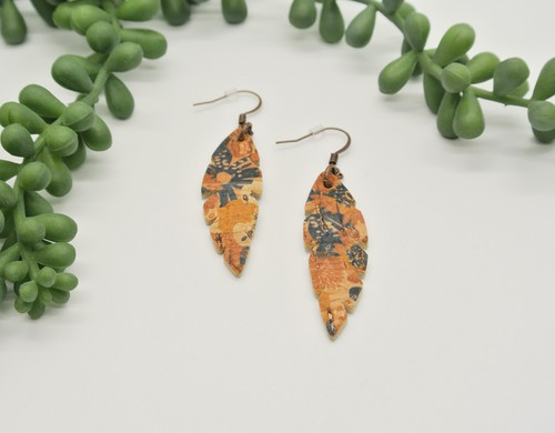 Floral Feather Leather Earrings - orangeshine.com
