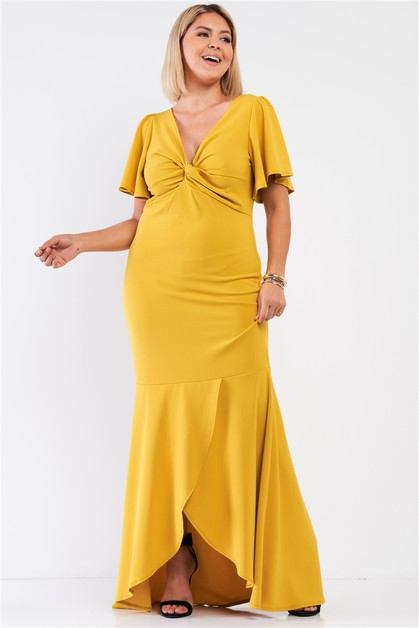 Angel Sleeve Mermaid Tail Maxi Dress - orangeshine.com