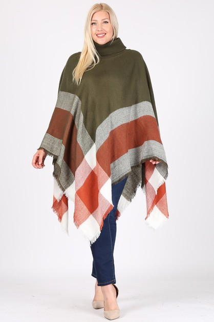 PLUS SIZE Turtleneck Pullover Poncho - orangeshine.com