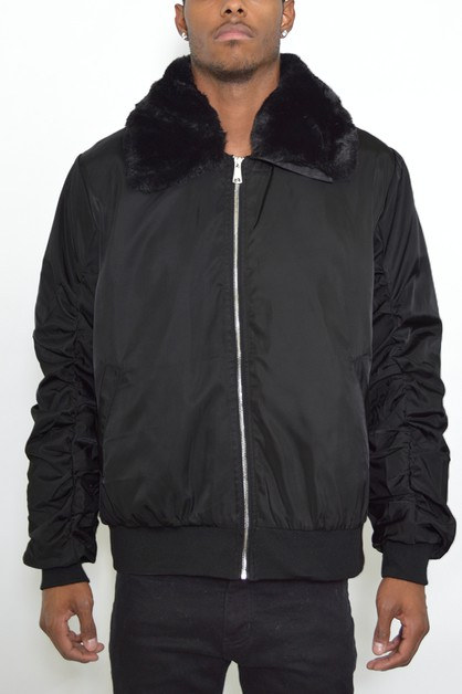 FUR COLLAR DETACHABLE JACKET - orangeshine.com