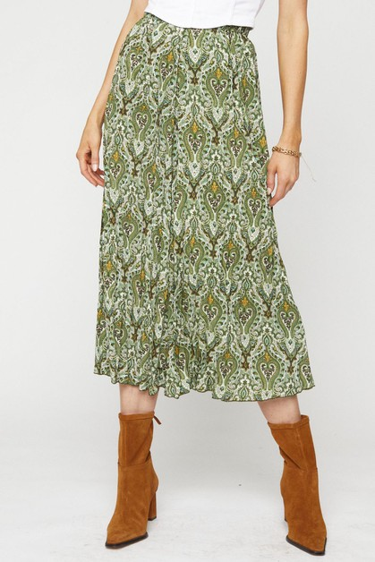 PLEATED PRINT MIDI SKIRT - orangeshine.com