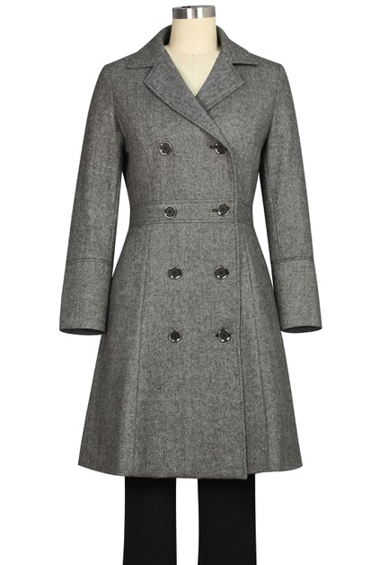 Plus Size Herringbone Coat - orangeshine.com