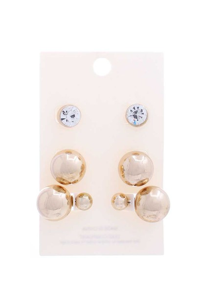 METAL STONE STUD 3 PAIR EARRING SET - orangeshine.com
