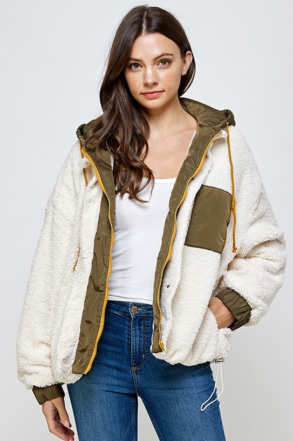 MIX MEDIA SHERPA JACKET - orangeshine.com