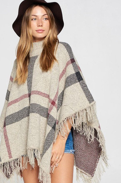 PLAID MOCK NECK PONCHO WITH FRINGE - orangeshine.com