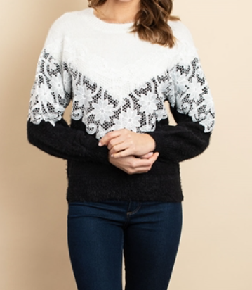 Lace Insert Sweater - orangeshine.com