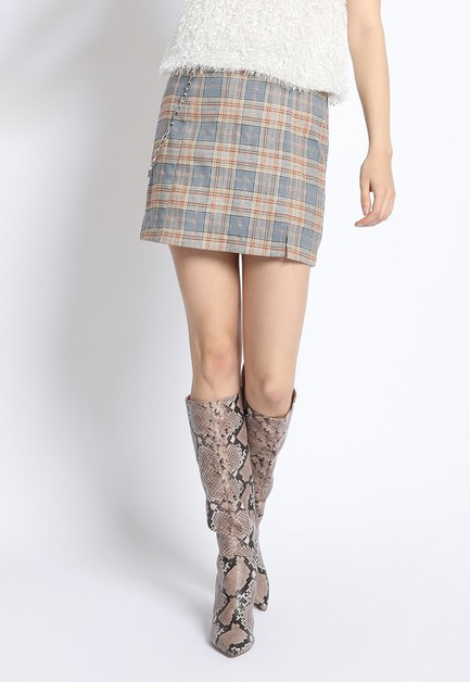 LUREX PLAID MINI SKIRT - orangeshine.com
