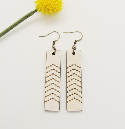 Rectangle Double Arrow Earrings - orangeshine.com