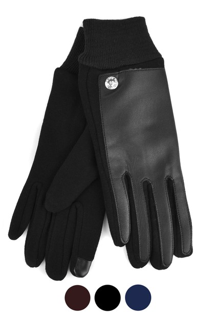 Womens  Leather Two-Tone Touch Glove - orangeshine.com