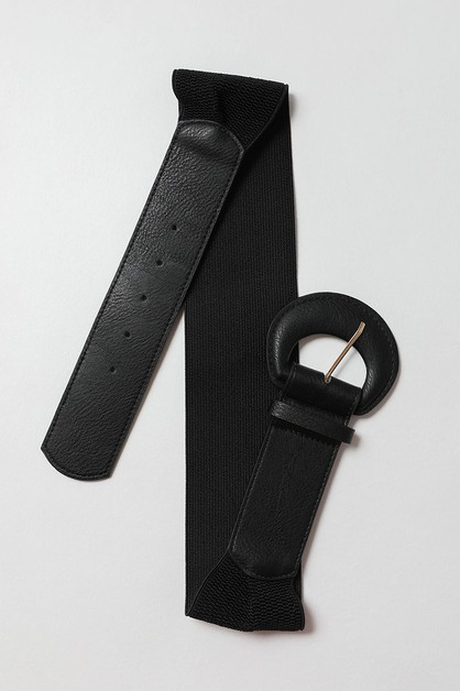 Faux Leather Large Buckle Belt - orangeshine.com