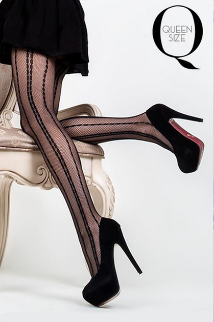 Geo Pindot Striped Fishnet Tights - orangeshine.com