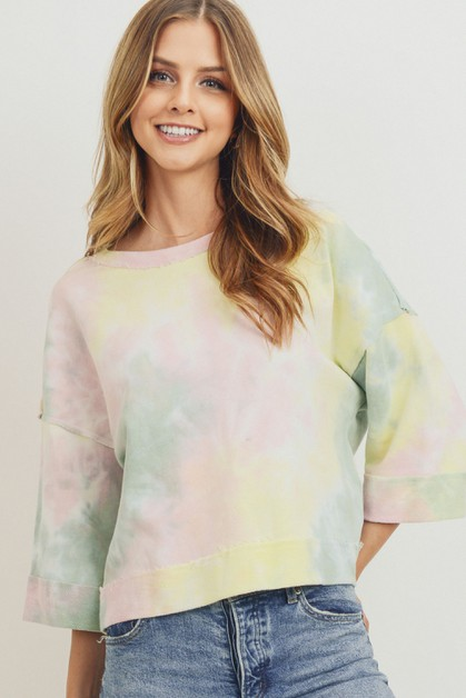 Tie Dyed Round Neck Top - orangeshine.com