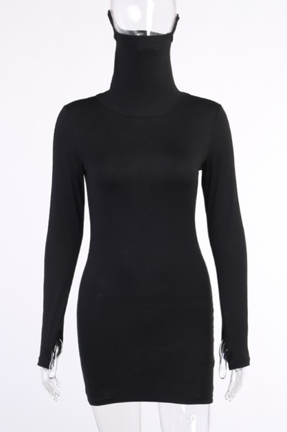high necked face mask dress  - orangeshine.com