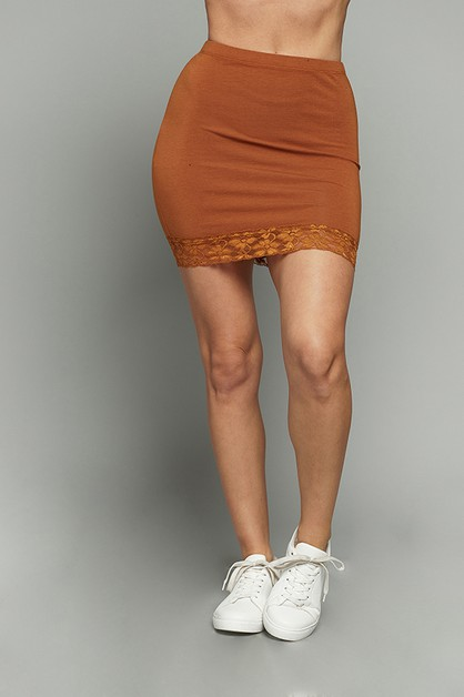 LACE HEM MINI SKIRT  - orangeshine.com