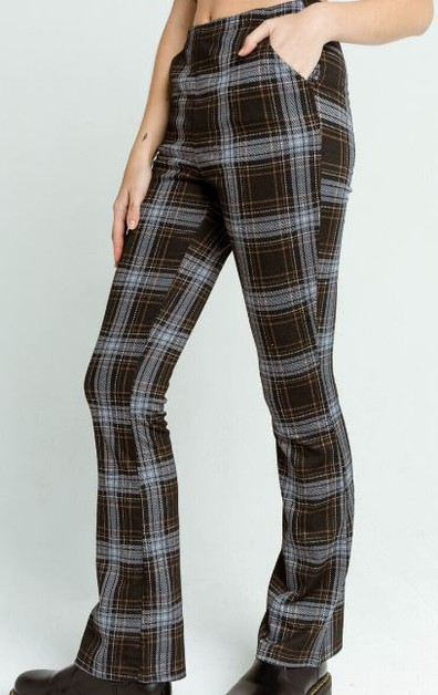 Plaid Flare Knit Pants - orangeshine.com