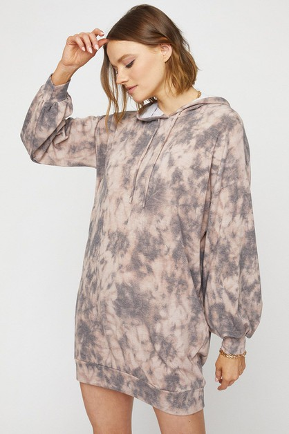 TIE DYE HOODIE DRESS - orangeshine.com