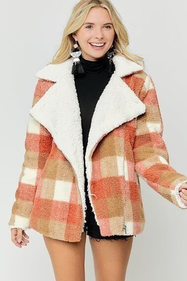 GINGHAM WITH INSIDE FAUX FUR ZIPUP J - orangeshine.com