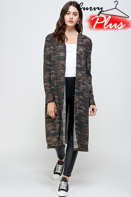 CAMO PRINT HOODED LONG CARDIGAN - orangeshine.com
