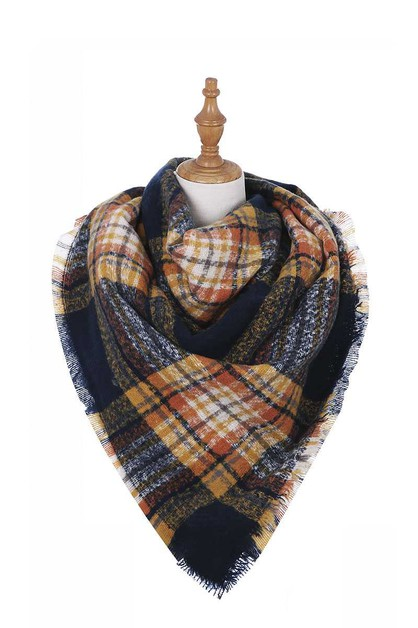 TRENDY CHECK CHENILLE FASHION SCARF - orangeshine.com