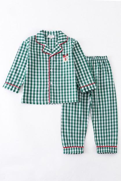 Green plaid unisex santa applique - orangeshine.com