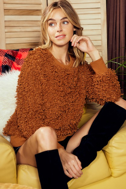 FLUFFY TEXTURE BOUCLE KNIT TOP - orangeshine.com