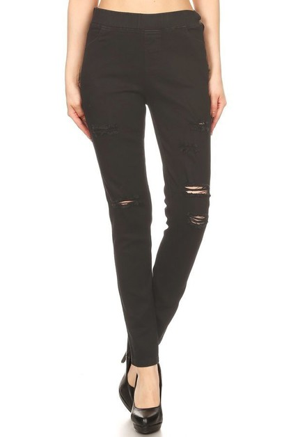 Distress pull on denim jegging - orangeshine.com
