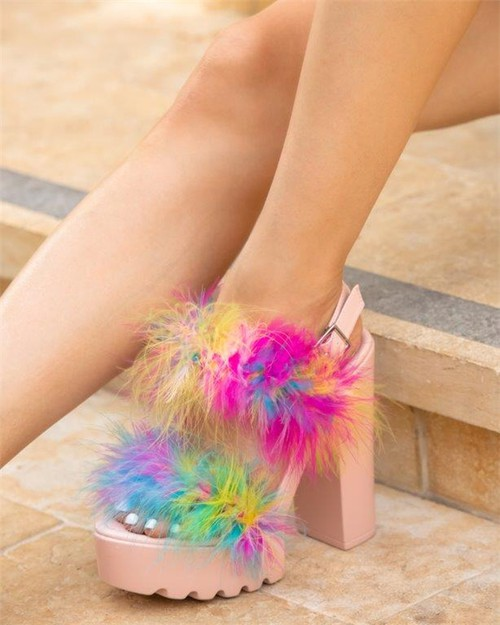 Women Furry Chunky Heels Sandals - orangeshine.com