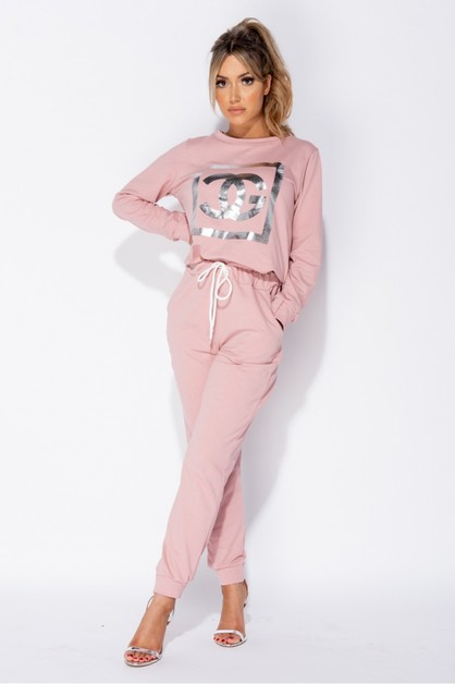 CG Print Sweatshirt and Jogger Set - orangeshine.com