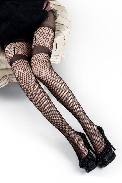 Garter Fishnet Tights - orangeshine.com