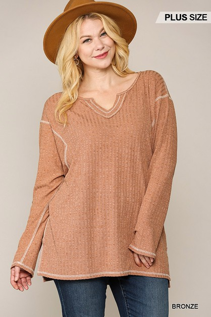 Two-Tone Ribbed Tunic Top - orangeshine.com
