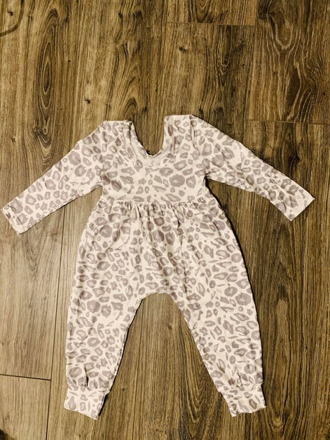 Girls Grey Leopard  Jumpsuit - orangeshine.com