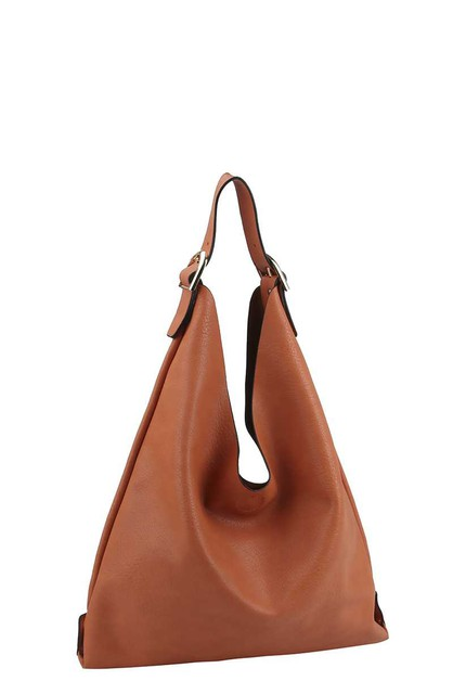 SMOOTH TEXTURED BUCKLE HOBO BAG - orangeshine.com