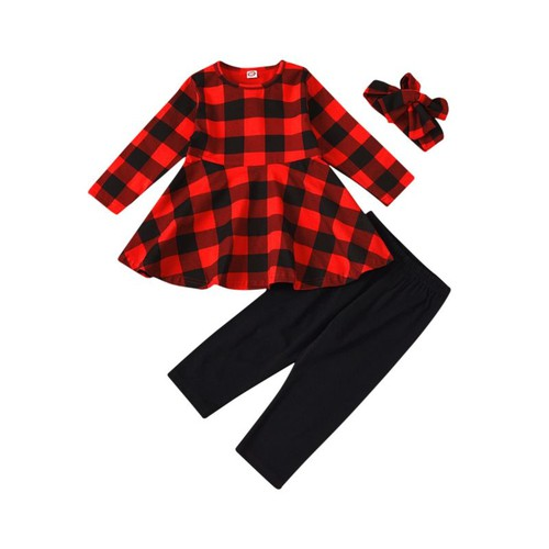 Girls buffalo plaid  outfit set - orangeshine.com
