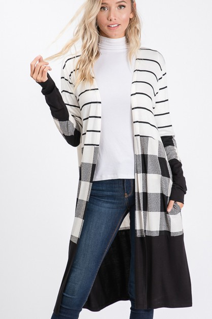 STRIPE AND PLAID OPEN CARDIGAN - orangeshine.com