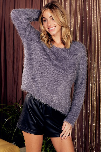 FUZZY METALIC PULLOVER SWEATER - orangeshine.com