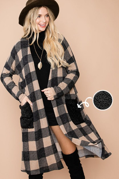 CHECKERED PRINT MAXI CARDIGAN - orangeshine.com