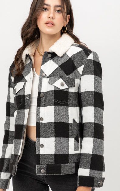 WOVEN PLAID JACKET - orangeshine.com