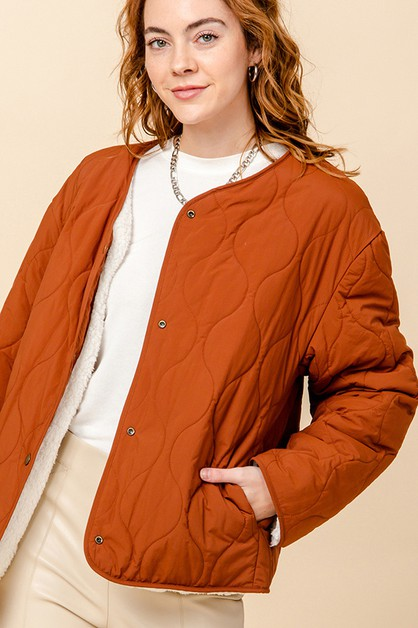 REVERSIBLE SHERPA QUILTED JACKET - orangeshine.com