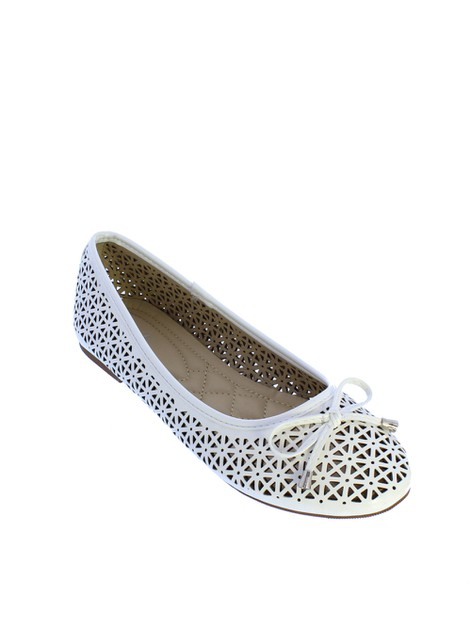 MLF13 ML Perforated Ballerina White - orangeshine.com