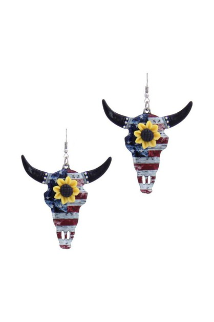CATTLE SKULL SUNFLOWER METAL HOOK EA - orangeshine.com