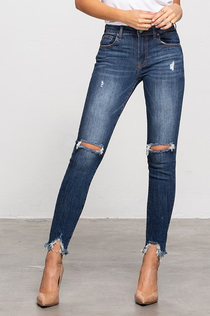 Mid rise distressed ankle jeans - orangeshine.com